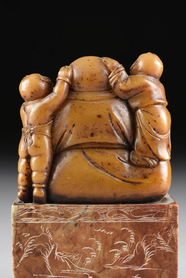 A CHINESE CARVED SOAPSTONE LAUGHING BUDDHA SEAL STAMP, - 8