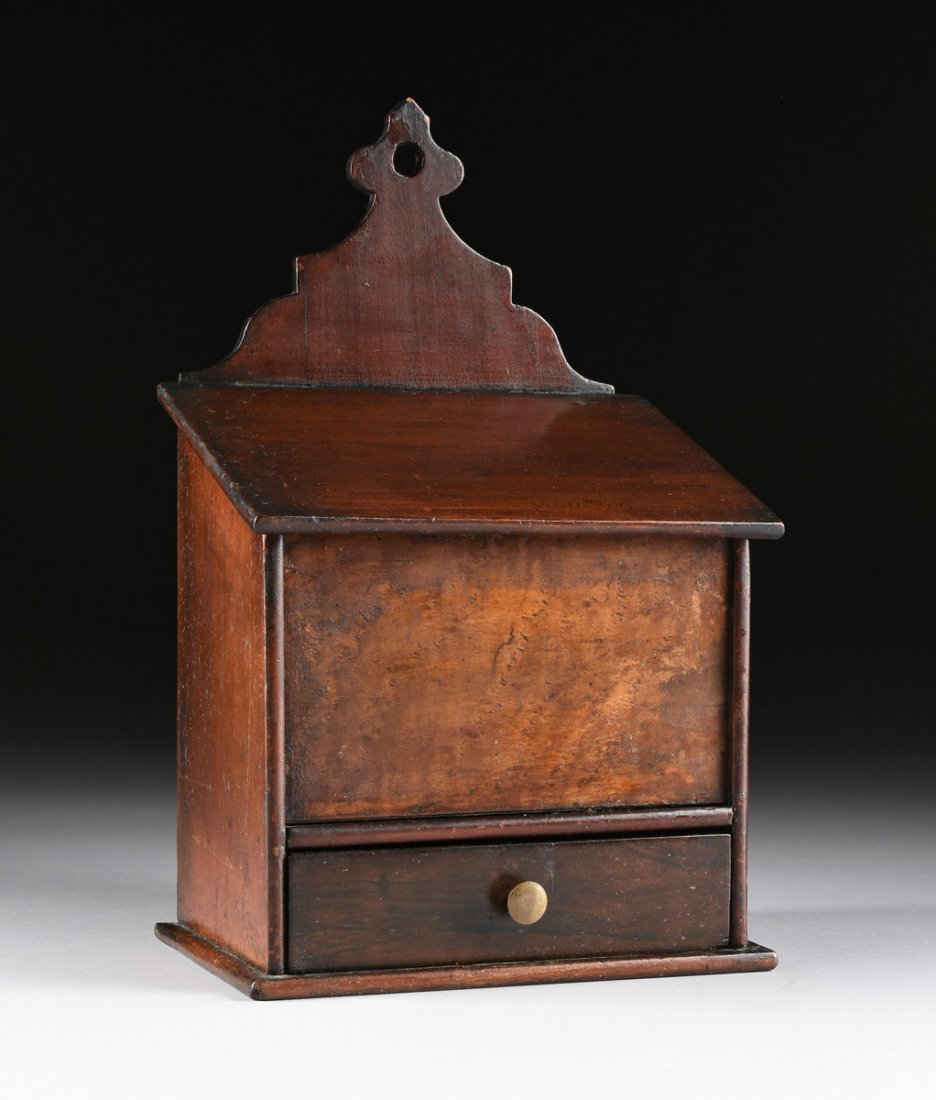 AN ANTIQUE AMERICAN CARVED WOOD AND BURL MAPLE VENEERED