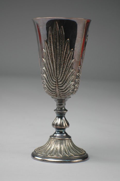22: A FRENCH STERLING SILVER CHALICE of tapered cylindr