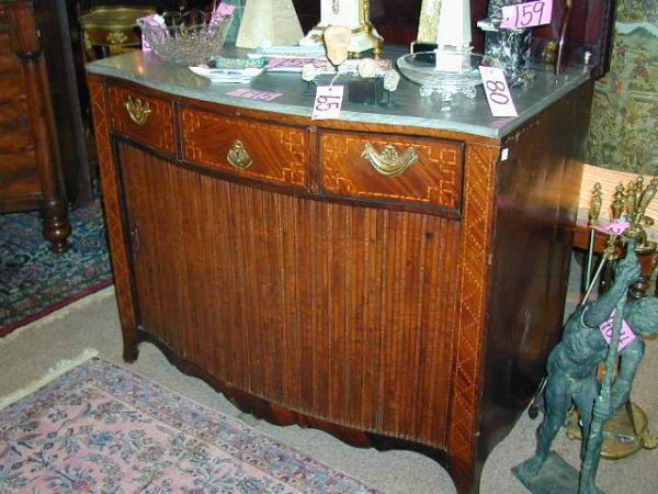 195: A FINE 18TH CENTURY DUTCH BOWFRONT MAHOGANY AND SA