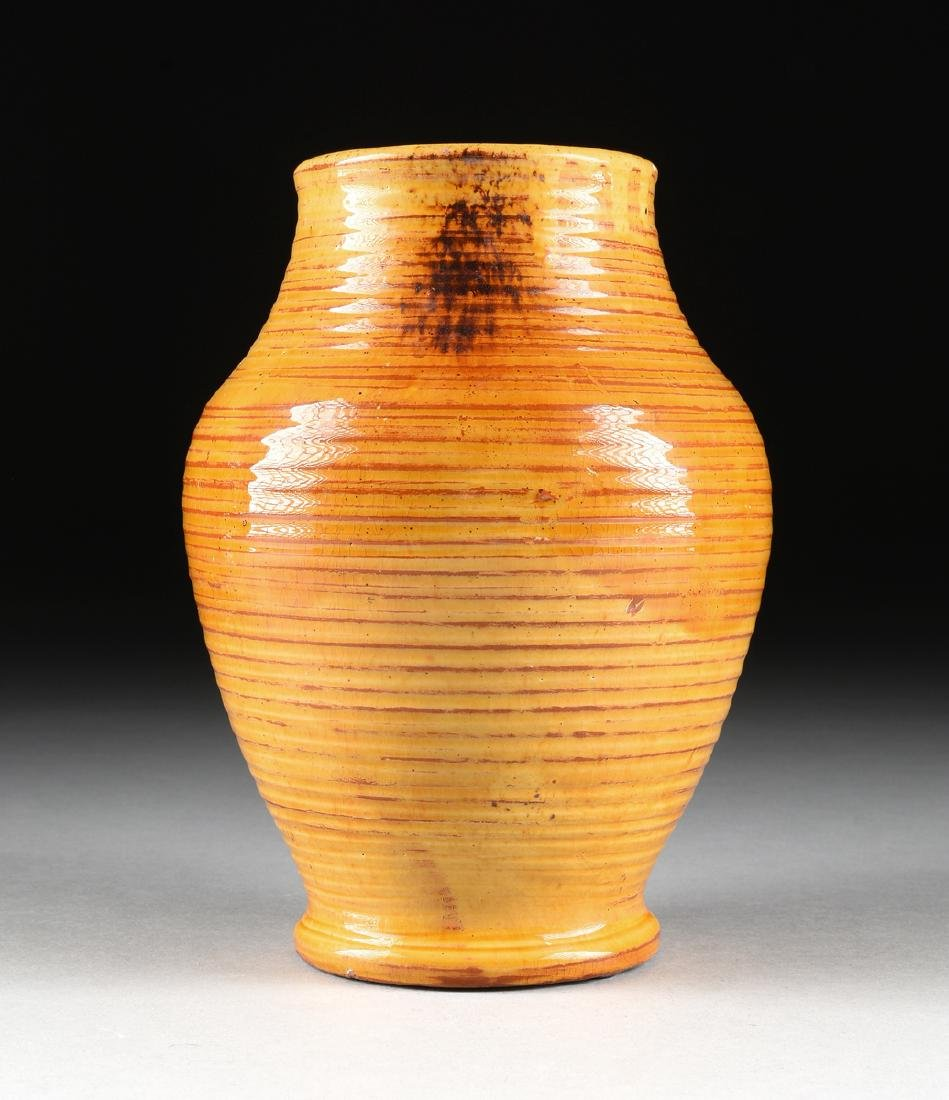 A DANISH HAND THROWN GLAZED EARTHENWARE VASE, DATED