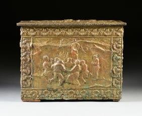 A FRENCH BAROQUE STYLE WOODEN COAL BOX WITH EMBOSSED