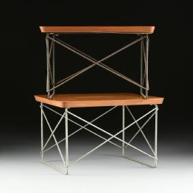 "TWO CHARLES AND RAY EAMES ""LTR"" VENEERED PLYWOOD AND"