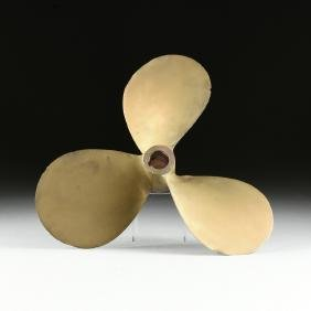 AN AMERICAN BRASS PROPELLER, MID 20TH CENTURY,