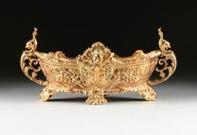 A GOLD PAINTED CAST IRON JARDINIERE, CIRCA 1890-1900,