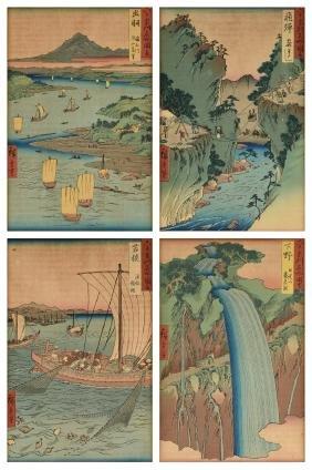 FOUR JAPANESE WOODBLOCK PRINTS BY UTAGAWA HIROSHIGE,