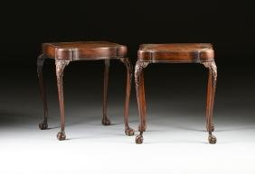 A PAIR OF AMERICAN CHIPPENDALE STYLE CARVED MAHOGANY