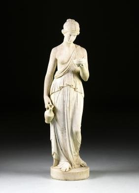 A NEO CLASSICAL CARVED WHITE MARBLE GARDEN STATUE OF A