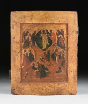 A RUSSIAN PARCEL GILT EGG TEMPERA PAINTED ICON OF THE