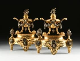 A PAIR OF FRENCH LOUIS XVI STYLE GILT AND PATINATED