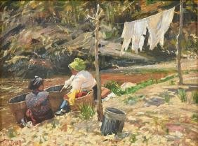 """RON MCDOWELL (American b. 1956) A PAINTING, """"Wash Day,"""""""