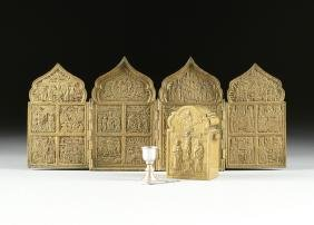 TWO RUSSIAN ORTHODOX CAST METAL TRAVELING ICONS,