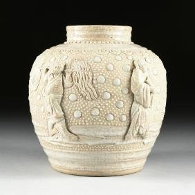 A CHINESE PORCELAIN URN WITH MOLDED DECORATION, 20TH