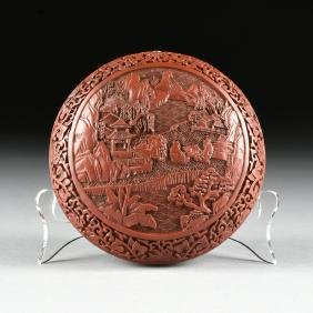 A CHINESE CARVED CINNABAR LACQUER COVERED BOX, REPUBLIC