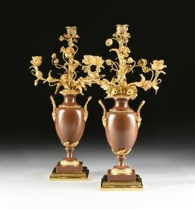A PAIR OF LOUIS XV STYLE GILT BRONZE MOUNTED GLAZED