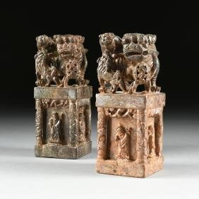 A PAIR OF CHINESE CARVED SOAPSTONE FIGURAL CHOP SEALS,