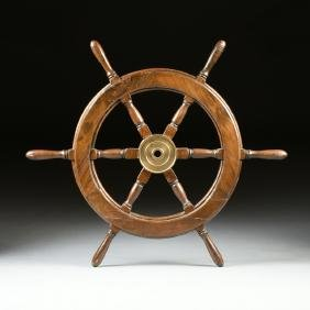 A CARVED PINE WOODEN SHIP'S WHEEL, 20TH CENTURY,