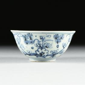 A SOUTH EAST ASIAN BLUE AND WHITE PORCELAIN BOWL, LATE