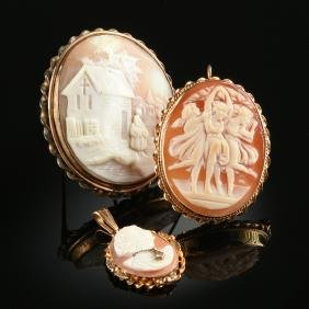 A GROUP OF THREE CONTINENTAL CAMEO BROOCHES, POSSIBLY