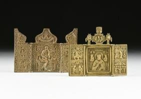 TWO RUSSIAN ORTHODOX CAST BRONZE TRAVELING TRIPTYCH