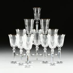 A SET OF THIRTEEN WATERFORD CHARLEMONT PATTERN ETCHED