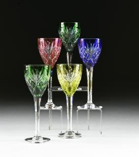 A SET OF FIVE ST. LOUIS CASED CUT CRYSTAL WINE HOCKS,