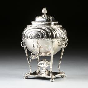 A VICTORIAN SHEFFIELD PLATE HOT WATER URN ON STAND WITH