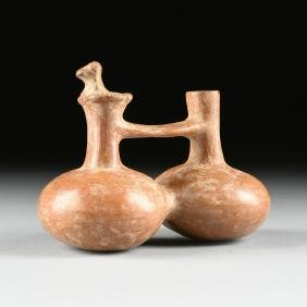 A PRE-COLUMBIAN POTTERY DOUBLE BODIED VESSEL, PERU,