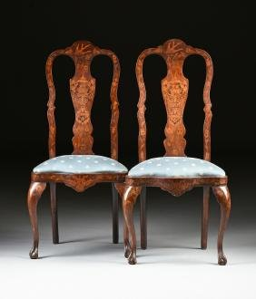 A PAIR OF DUTCH QUEEN ANNE STYLE MARQUETRY INLAID