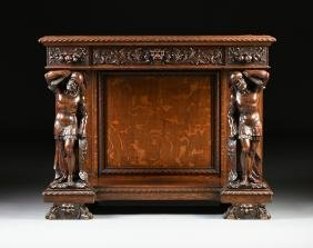 AN AMERICAN BAROQUE STYLE FIGURAL CARVED OAK CONSOLE