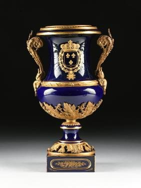 A FRENCH LOUIS XVI STYLE GILT BRONZE MOUNTED PORCELAIN
