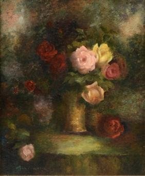 """FELIX PISSARRO (French 1874-1897) A PAINTING, """"Roses in"""