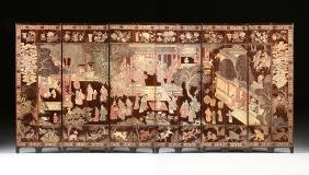 A SIX PANEL CHINESE CARVED LACQUERED WOOD LOW SCREEN,