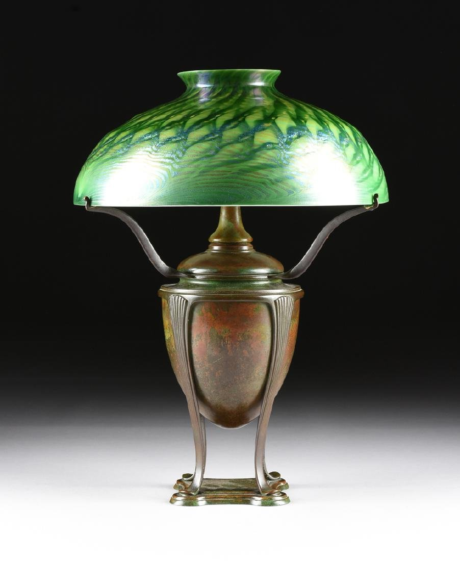 A TIFFANY STUDIOS FAVRILE GLASS AND PATINATED BRONZE