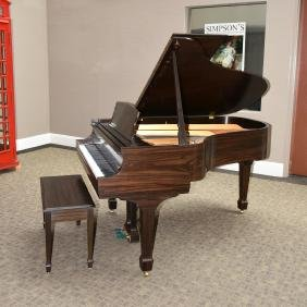 A STEINWAY & SONS MACASSAR EBONY L GRAND PIANO WITH
