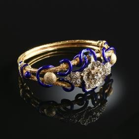 An Antique Russian Gold, Enameled And Diamond Bracelet,
