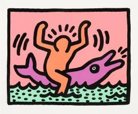 """KEITH HARING (American 1958 - 1990) A PRINT, """"UNTITLED"""