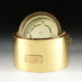 A U.S. NAVY BUREAU OF SHIPS BRASS 6 3/4 BINNACLE, CIRCA