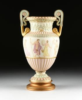 A W.T. COPELAND & SONS PORCELAIN KRATER FORM VASE WITH