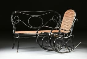 A GEBRUDER THONET BLACK PAINTED BENT BEECH WOOD AND