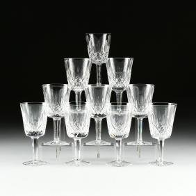 A SET OF TEN WATERFORD CUT CRYSTAL CLARET WINE GLASSES