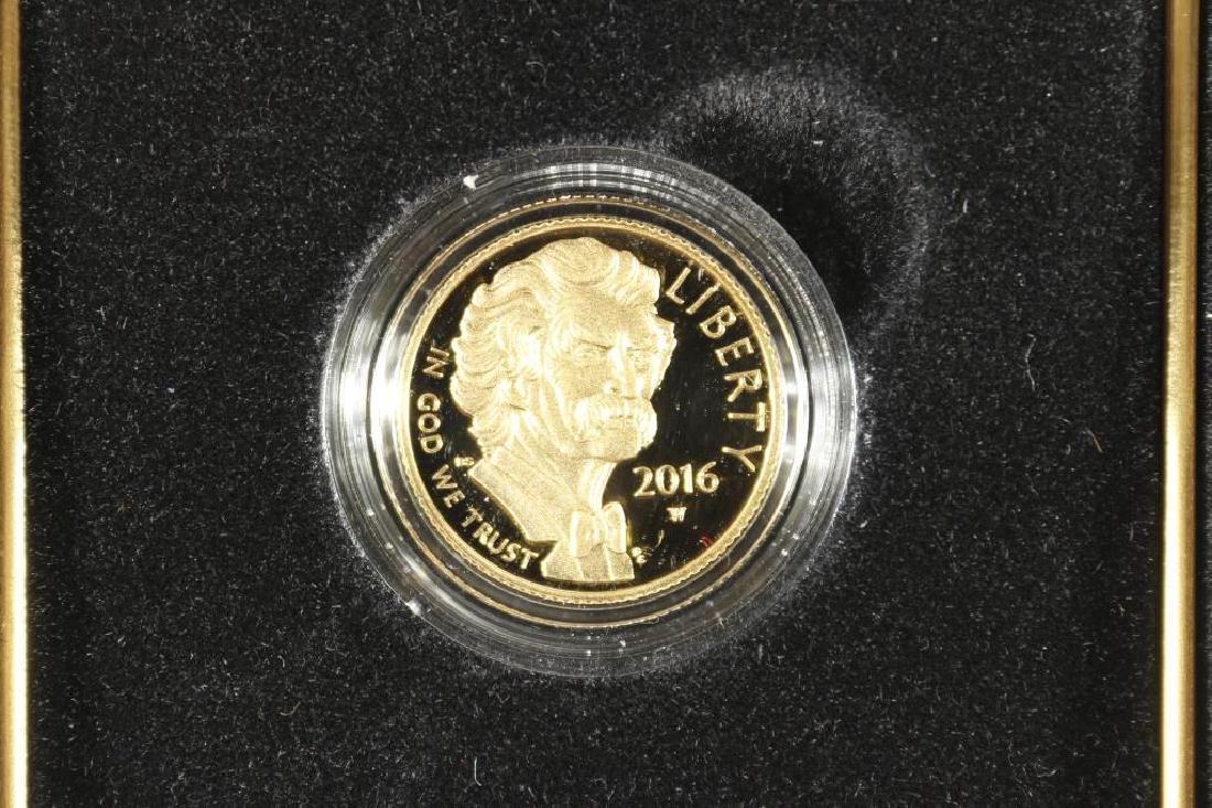 2016-W MARK TWAIN PROOF GOLD $5 COIN 1/4 OZ.
