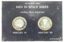 2 STERLING SILVER PROOF MEDALS MEN IN SPACE SERIES