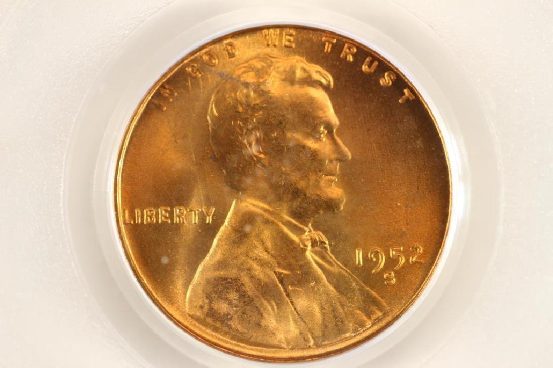 1952-S LINCOLN CENT PCGS MS66RD