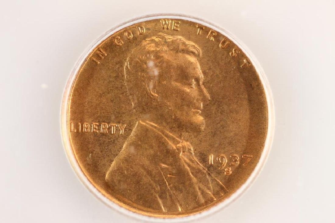 1937-S LINCOLN CENT ICG MS66RD