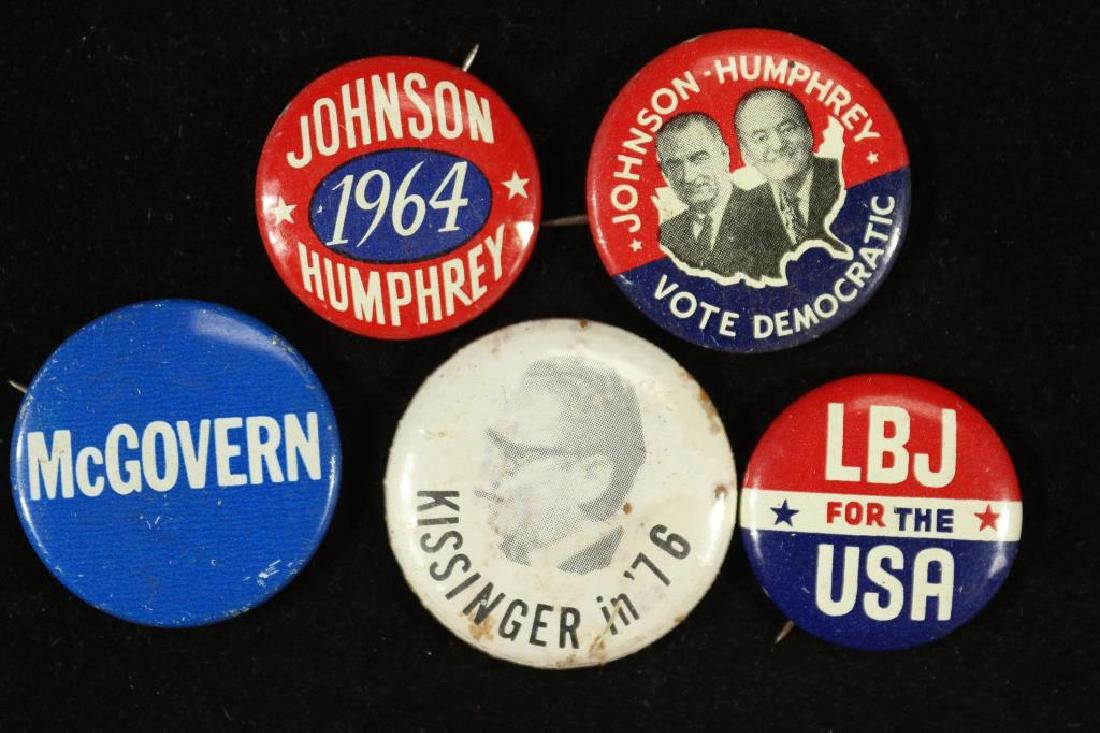 5 ASSORTED VINTAGE POLITICAL PIN BACK BUTTONS