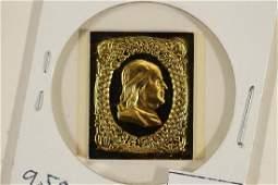 9.5 GRAM 24KT GOLD PLATED STERLING SILVER INGOT