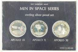 3 STERLING SILVER PROOF ROUNDS MEN IN SPACE SERIES