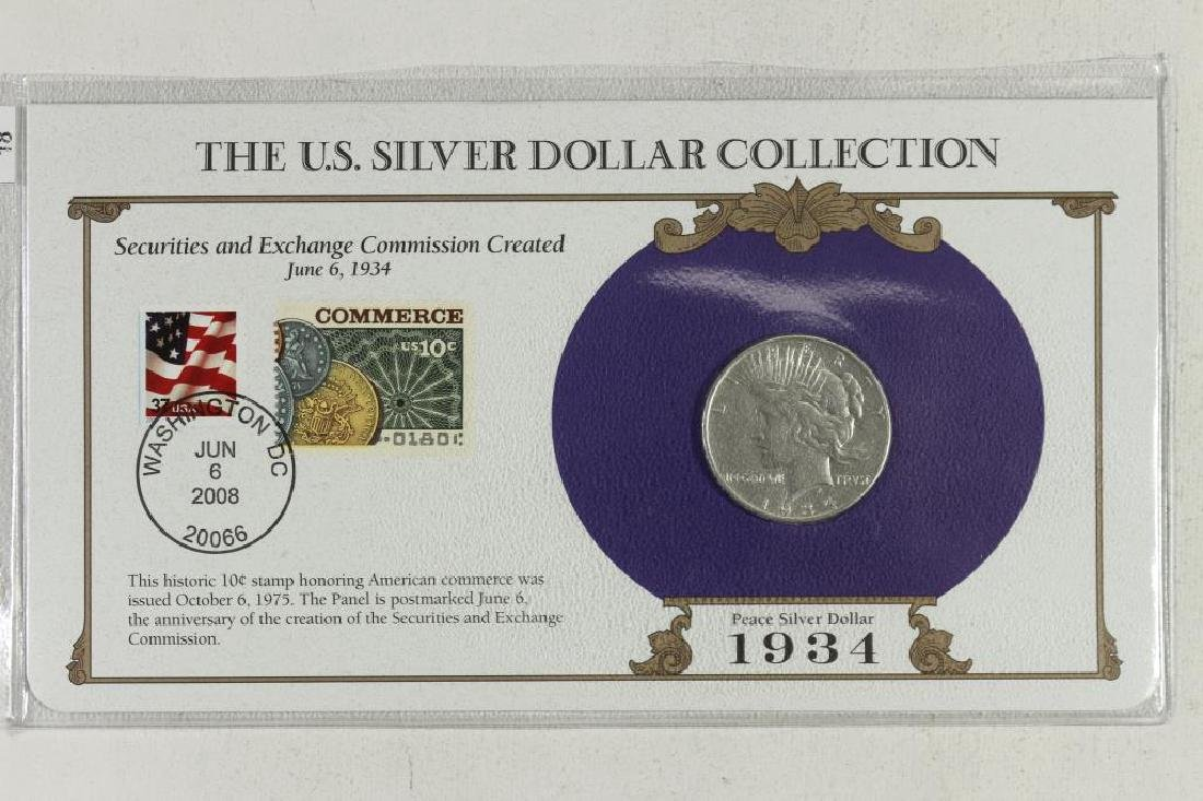 1934-D PEACE SILVER DOLLAR & STAMP SET AS SHOWN