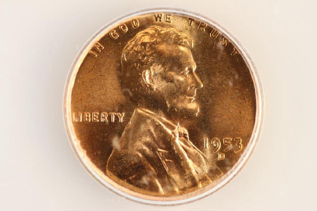1953-D LINCOLN CENT ICG MS66RD